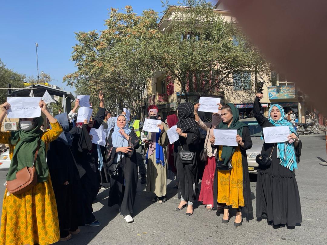 اعتراض شماری از زنان در کابل. عکس: ارسالی به رخشانه